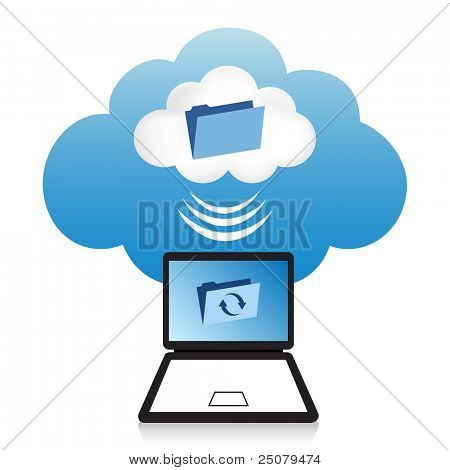 "Cloud computing concept. Laptop synchronizing data located in the ""cloud""."