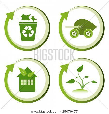 Green eco friendly design concepts – recycle bin, green transport, green house, green seedling.