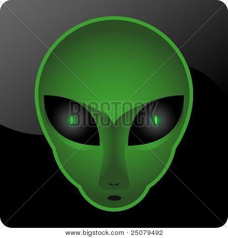 A mesmerizing green alien head.