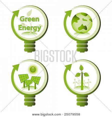 Conceptos de diseño energía verde eco - energías renovables, tierra verde, energía solar, energía eólica.