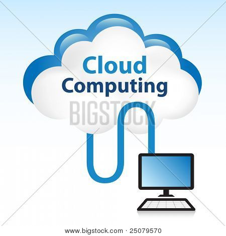 "Cloud computing concept. Computer connected to data located in the ""cloud""."