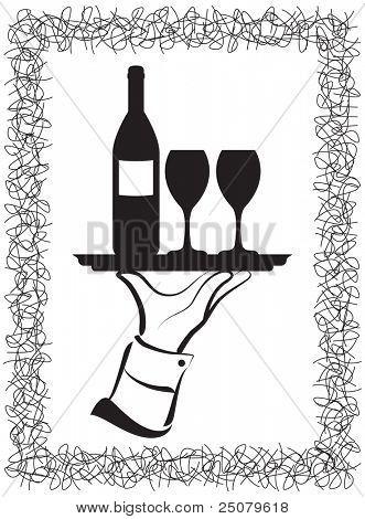 Waiter's Hand Wein serviert.