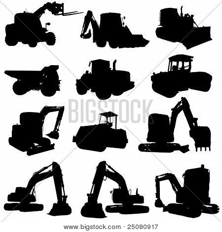 Construction Vehicle Black Silhouette