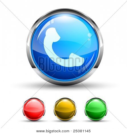 Phone Call Cristal Glossy Button with light reflection and Chromed ring. 4 Colours included.