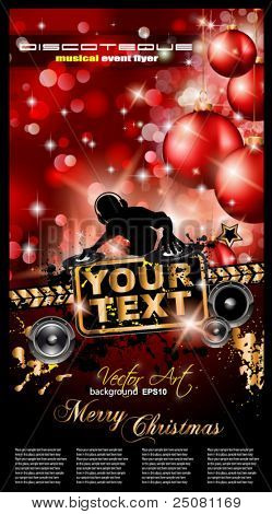 Christmas Party Event Background with Dj Shape and Fantastic Red Baubles and Glitters in the background. Ideal for music posters.