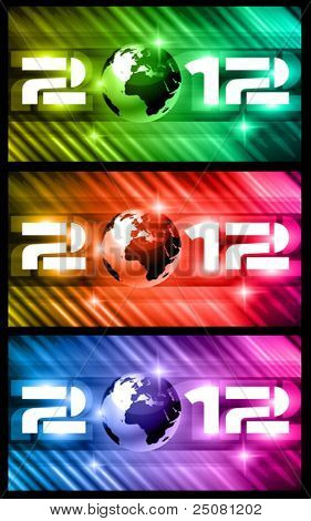 High Tech New Year Banners Background with rays of light and Rainbow Colours. Ideal for alternative Flyer or posters.