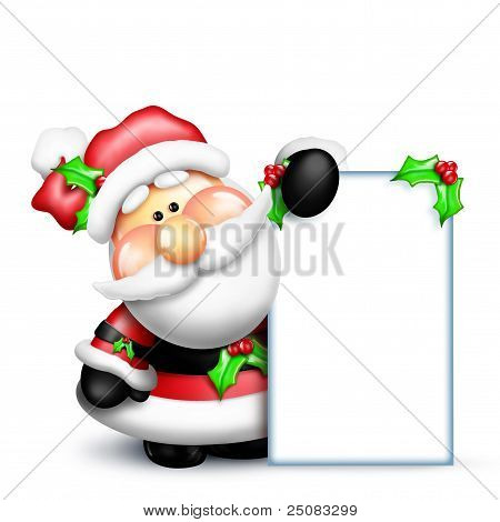 Gumdrop Santa Holding a Tall Sign