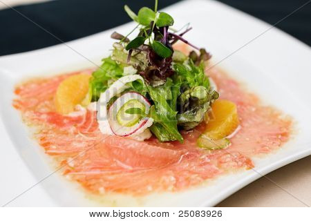 Trout carpaccio with citrus salad