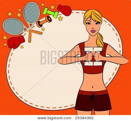 Beautiful fitness woman with free weights in gym. Vector
