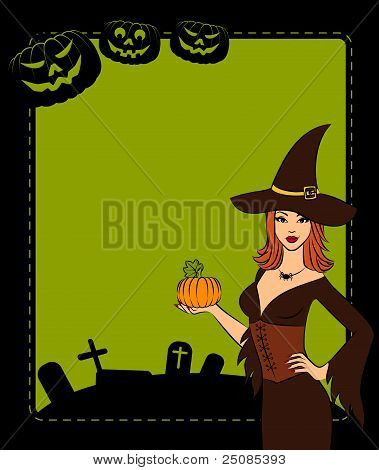 Girl witch with pumpkin in Halloween style