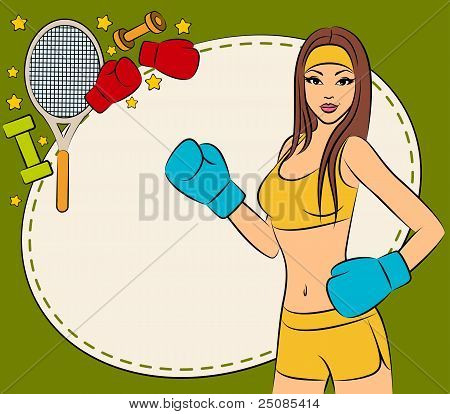 Beautiful woman during fitness time and boxing