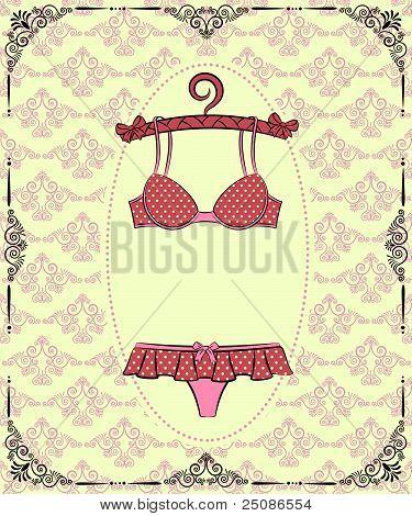 Vintage underlinen with ornament on background. Vector