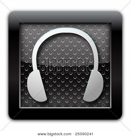 Headphone metallic icon