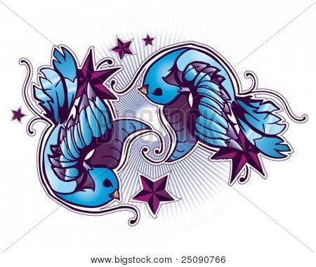 tattoo birds and stars