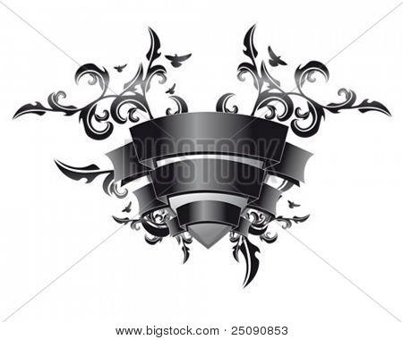 black floral emblem