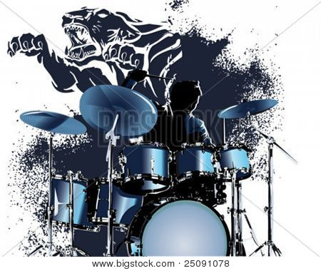 Tigre azul baterista salpicadura