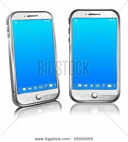 Cell Smart Mobile Phone White 3D And 2D
