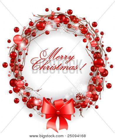 Christmas wreath with red bow eps 10