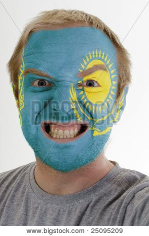 Face Of Crazy Angry Man Painted In Colors Of Kazakstan Flag