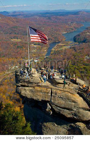 Chimney rock in North Carolina - popular tourist destination in USA