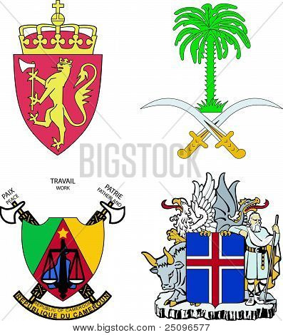 Set Of Arms Of Iceland, Norway, Saudi Arabia, Cameroon
