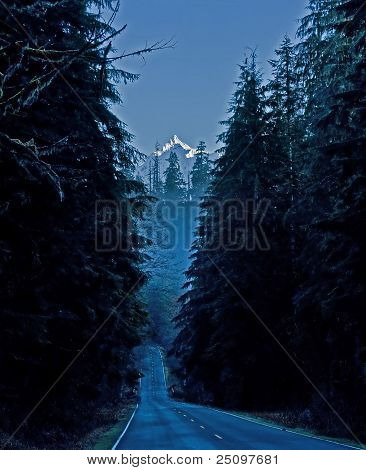 Mountain Road At Winter's Dawn