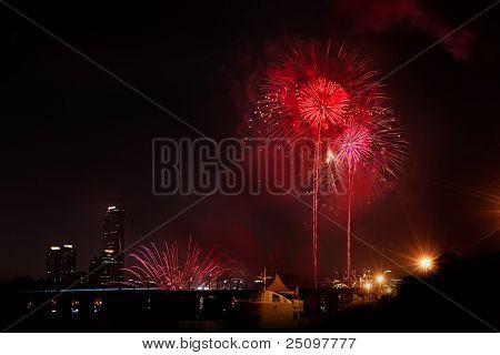 Beautiful Fireworks In Black Sky
