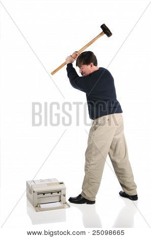 Man Hammers Printer