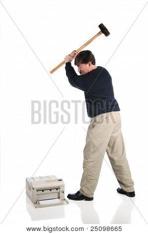 Man Hammers Printer