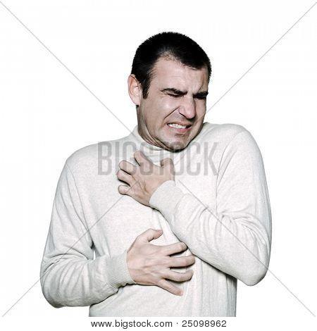 Portret man krassen jeukende trek over in studio op een witte achtergrond geïsoleerde