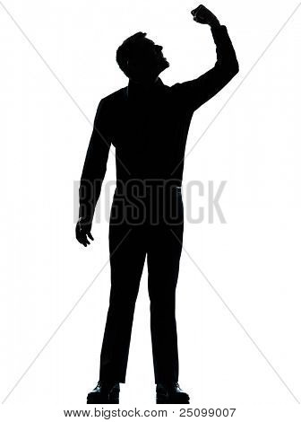 one caucasian business man angry fisting up  silhouette standing Full length in studio isolated on white background