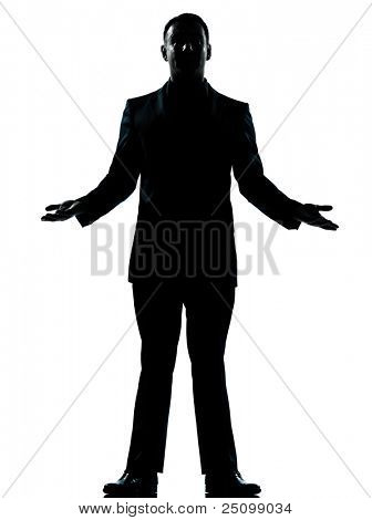 one caucasian business man arms outstreched  silhouette standing Full length in studio isolated on white background