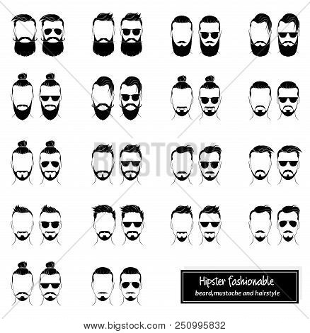 Set Mens Hairstyles Beards Mustaches And Glasses Bearded Men