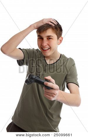 Happy Boy With Game Controller