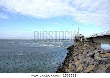 Dam, Sea And Wind Green Energy In Zeeland