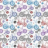 Постер, плакат: Бесшовный фон рисованной велосипедов