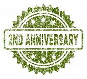 2nd Anniversary Stamp Seal Watermark With Scratched Style. Green Vector Rubber Print Of 2nd Annivers poster