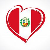 Love Peru Greeting Card, Flag With Coat Of Arms. 28 July, Peru Independence Day Banner Background Wi poster