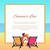 Summer Love Poster With Pace For Text And Suntanned Couple In Swimwear Sitting On Recliners With Tas poster