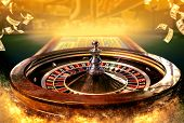 Collage Of Casino Images With A Close-up Vibrant Image Of Multicolored Casino Roulette Table With Po poster