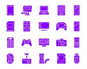 Device Purple Silhouette Icons Set. Isolated On White Web Sign Kit Of Gadget. Electronics Pictogram  poster
