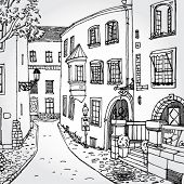 Hand Drawn Illustration of Cozy European Street