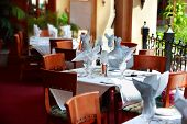 foto of restaurant  - Nice dining tables in a nice restaurant - JPG