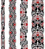 picture of indian totem pole  - Haida style seamless pattern created with animal images - JPG