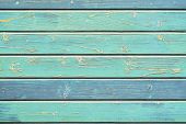 Wooden Plank Texture In Turquoise Green Shades, Hues. Rustic Natural Wooden Planks With Cracks, Scra poster