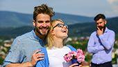 Lovers Hugs Outdoor Flirt Romance Relations. Couple Romantic Date Lovers Bouquet Flowers. Infidelity poster