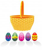 stock photo of easter basket eggs  - Easter basket and eggs  - JPG