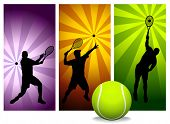 Tennis Player Silhouettes - Vector. Easy change colors.  (Check out my portfolio for other silhouett