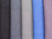 Textile Samples. Textile Samples For Curtains. Gray, Brown Tone Curtain Samples Hanging. Choice Of F poster