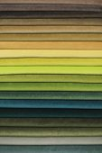 Textile Samples. Textile Samples For Curtains. Yellow, Green Tone Curtain Samples Hanging. Choice Of poster